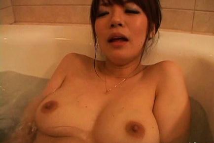 Nao mizuki. Nao Mizuki Asian with large breasts has hairy beaver rubbed in water