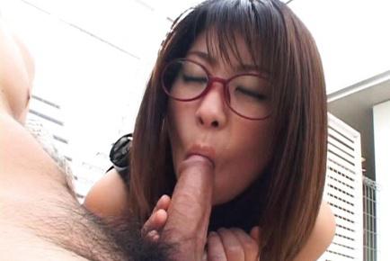 Mimi kousaka with specs licks hard penis 8