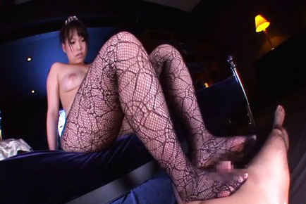 An shinohara. An Shinohara Asian topless touches penis with feet in stockings