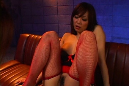 Rino imano. Rino Imano Asian in red fishnets has hairy slit licked by doll