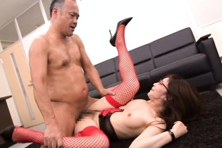 Japanese av model. Japanese AV Model in red fishnets has crack