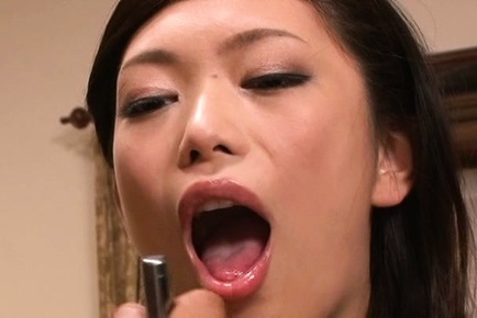Hikari hino. Hikari Hino Asian has great tits and mouth examined with flashlight